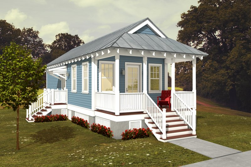 Cottage Style House Plan - 1 Beds 1 Baths 576 Sq/Ft Plan #514-6