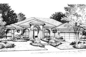 Mediterranean Exterior - Front Elevation Plan #417-196
