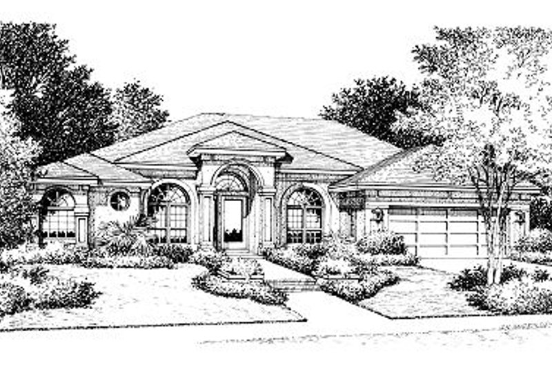 Mediterranean Style House Plan - 3 Beds 2 Baths 2118 Sq/Ft Plan #417-196 Exterior - Front Elevation