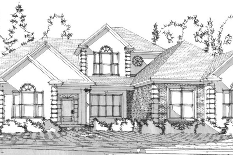Traditional Style House Plan - 4 Beds 3.5 Baths 3649 Sq/Ft Plan #63-288 Exterior - Front Elevation