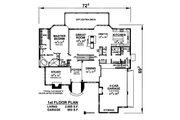 European Style House Plan - 4 Beds 3.5 Baths 4435 Sq/Ft Plan #20-2301 Floor Plan - Main Floor Plan