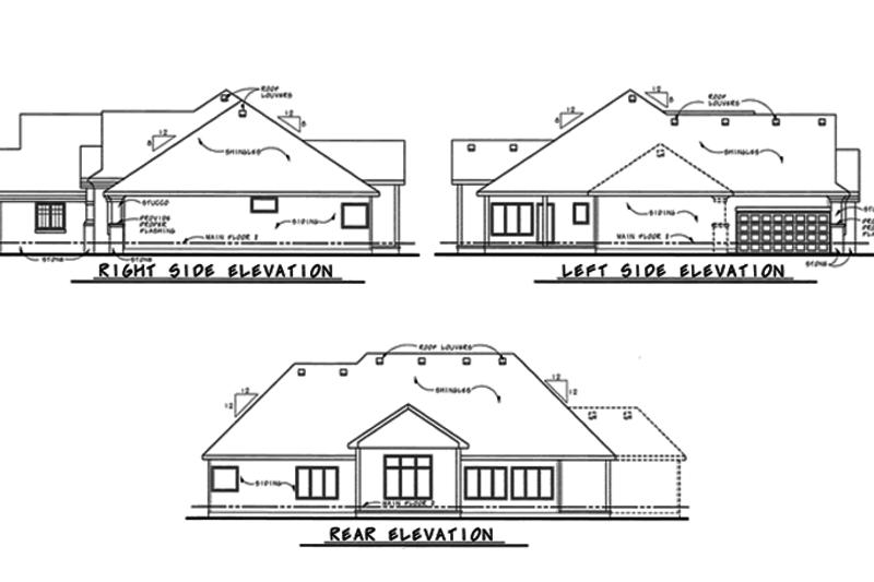 European Exterior - Rear Elevation Plan #20-2128 - Houseplans.com
