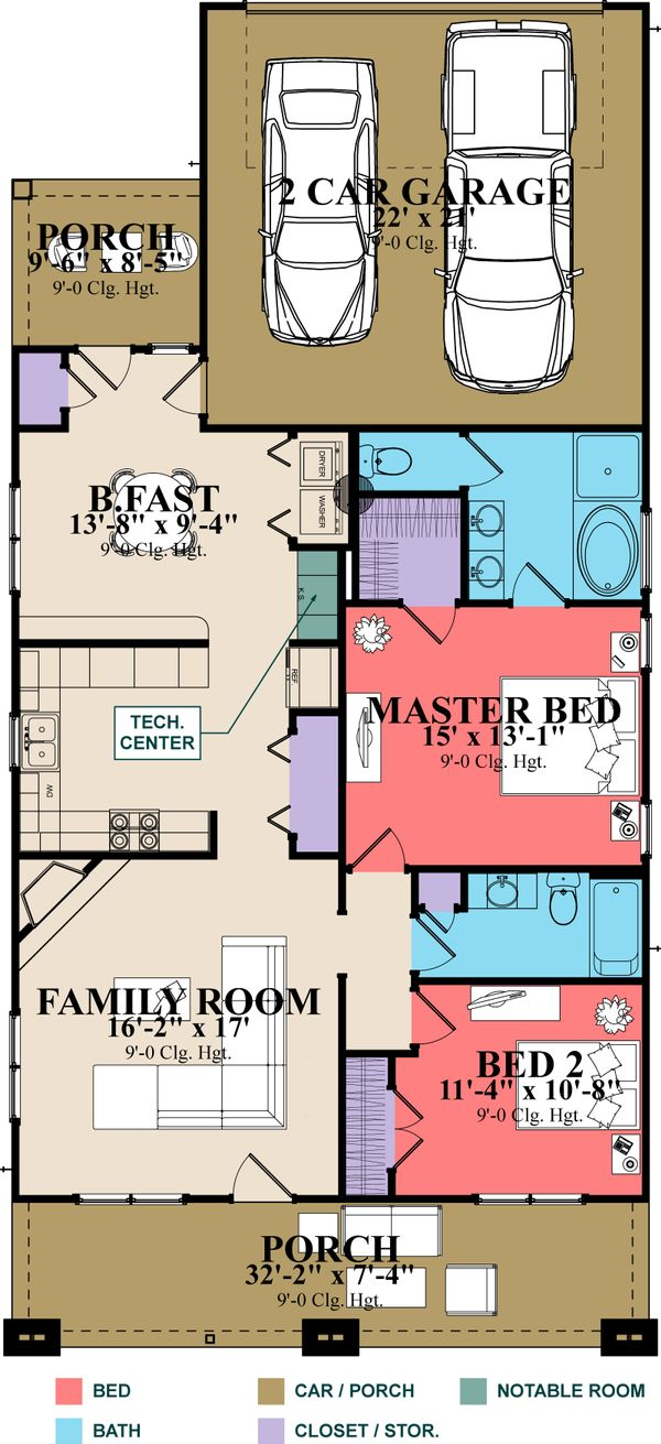 Craftsman Floor Plan - Main Floor Plan Plan #63-272