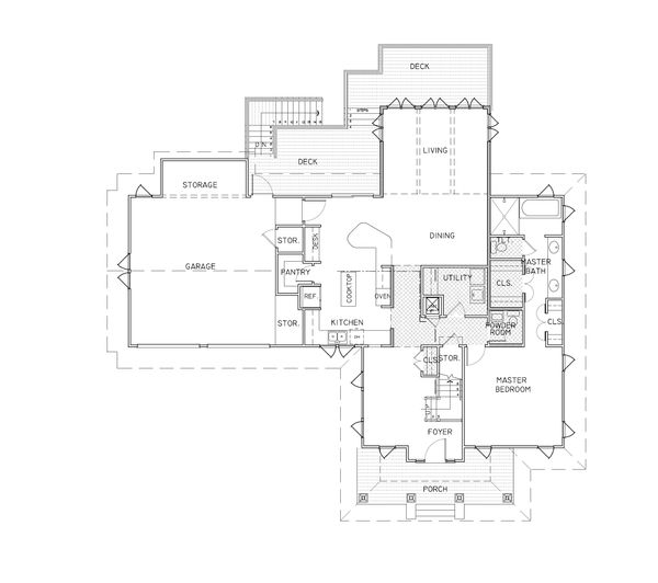 Craftsman Style House Plan - 4 Beds 3.5 Baths 2538 Sq/Ft Plan #536-7 Floor Plan - Main Floor Plan