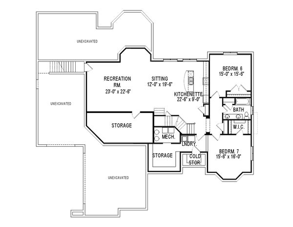 European Floor Plan - Lower Floor Plan Plan #920-12