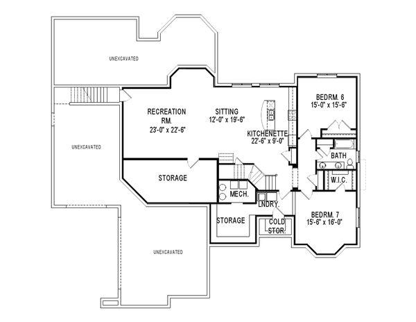European Style House Plan - 5 Beds 3.5 Baths 5286 Sq/Ft Plan #920-12 Floor Plan - Lower Floor Plan
