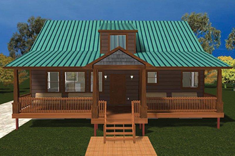 Cabin Exterior - Front Elevation Plan #1060-24