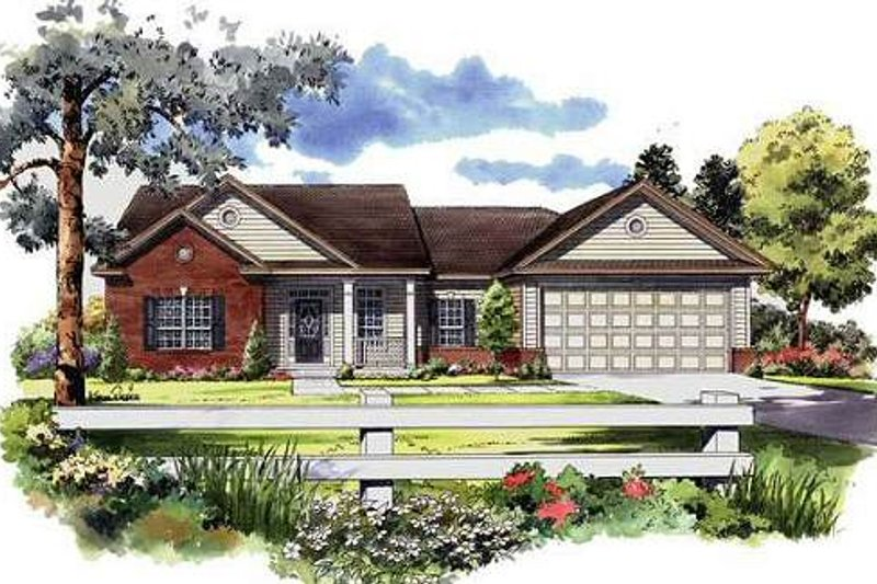 Traditional Style House Plan - 3 Beds 2 Baths 1700 Sq/Ft Plan #21-236 Exterior - Front Elevation