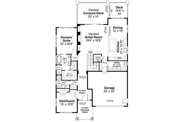 Contemporary Floor Plan - Main Floor Plan Plan #124-1116