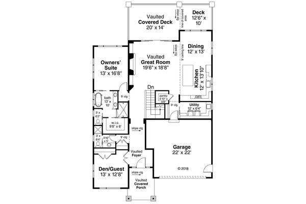 Contemporary Floor Plan - Main Floor Plan Plan #124-1116