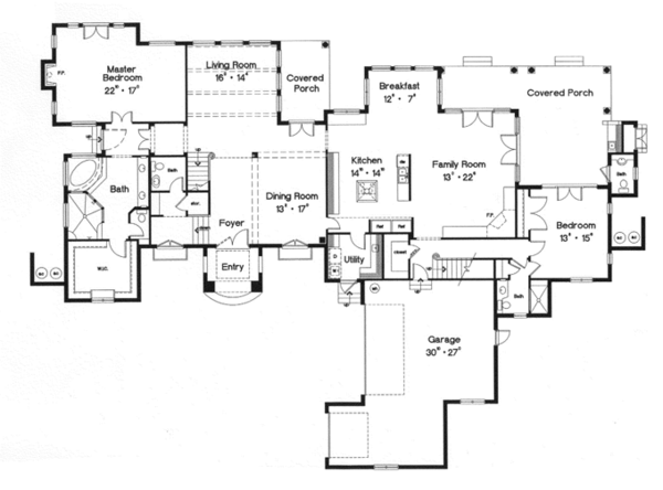 Mediterranean Floor Plan - Main Floor Plan Plan #417-796