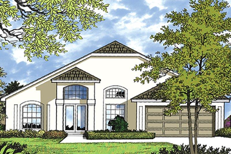 Architectural House Design - Mediterranean Exterior - Front Elevation Plan #417-823