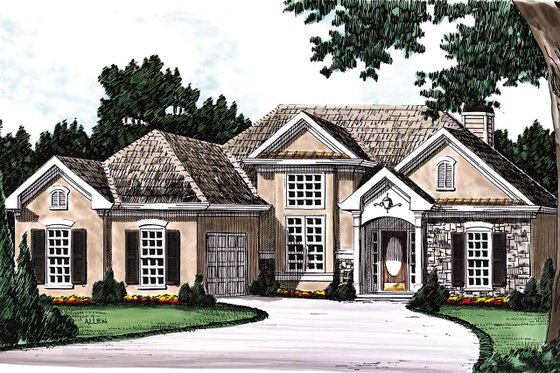 European Exterior - Front Elevation Plan #927-23