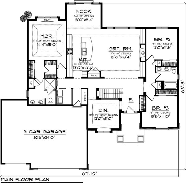 Ranch Floor Plan - Main Floor Plan Plan #70-1032