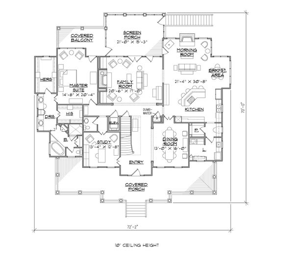 Colonial Floor Plan - Main Floor Plan Plan #1054-29