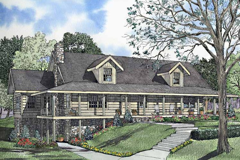 Log Exterior - Front Elevation Plan #17-3153 - Houseplans.com