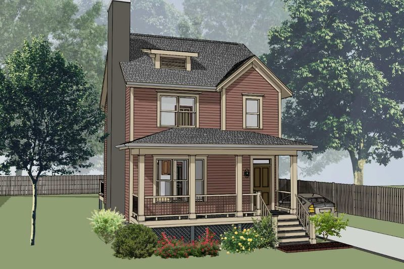 Country Style House Plan - 3 Beds 2.5 Baths 1280 Sq/Ft Plan #79-173