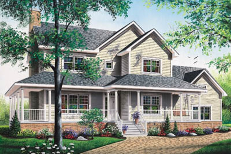 Country Exterior - Front Elevation Plan #23-2061