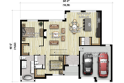 Contemporary Style House Plan - 2 Beds 2 Baths 1776 Sq/Ft Plan #25-4911