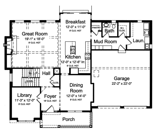 Colonial Floor Plan - Main Floor Plan Plan #46-860
