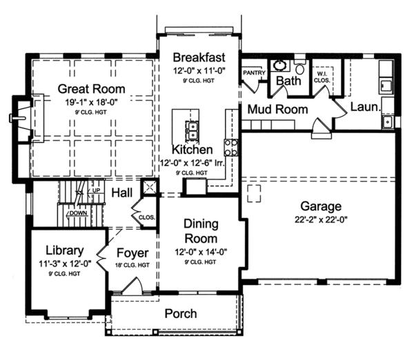 Home Plan - Colonial Floor Plan - Main Floor Plan #46-860