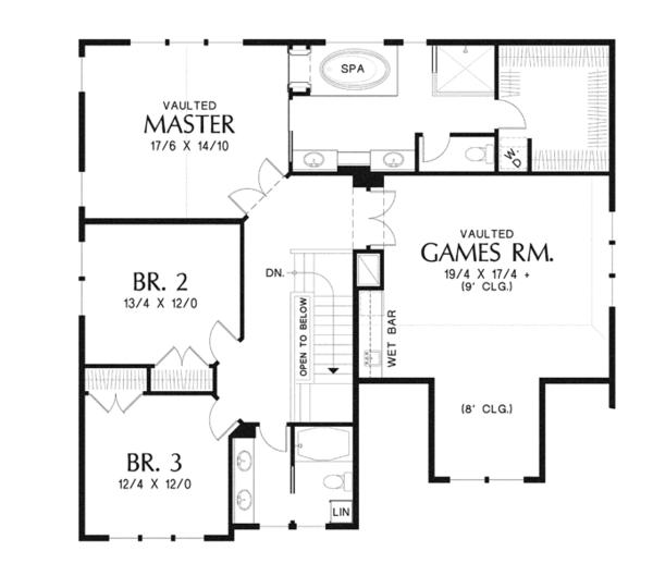 Craftsman Floor Plan - Upper Floor Plan Plan #48-914