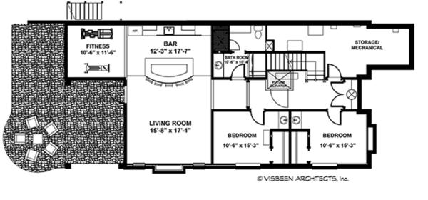 Craftsman Floor Plan - Lower Floor Plan #928-282