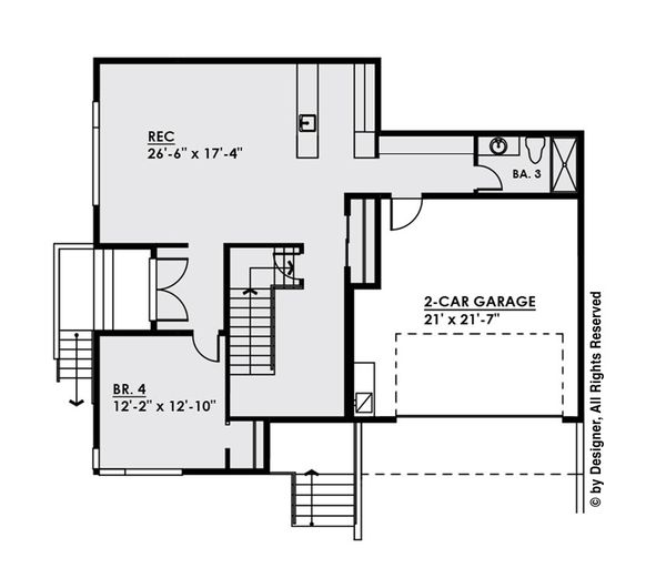 Contemporary Floor Plan - Lower Floor Plan Plan #1066-32
