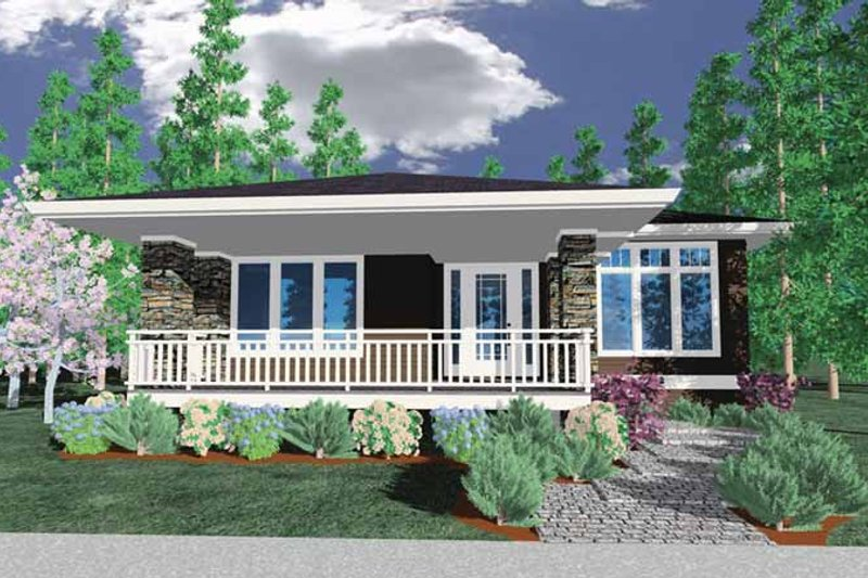 Prairie Exterior - Front Elevation Plan #509-413