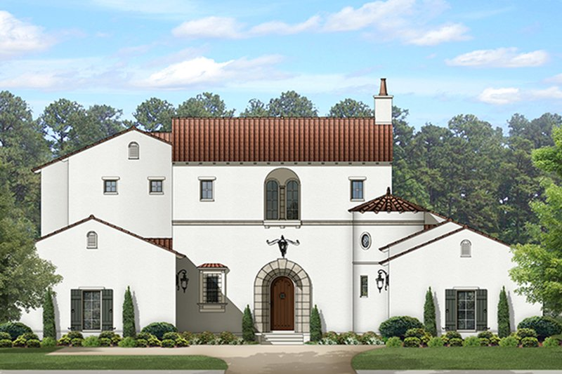 Mediterranean Style House Plan - 5 Beds 5.5 Baths 4752 Sq/Ft Plan #1058-154 Exterior - Front Elevation