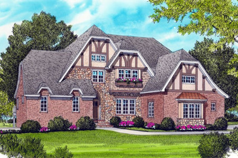 Tudor Exterior - Front Elevation Plan #413-816