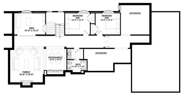 Contemporary Floor Plan - Lower Floor Plan Plan #928-311