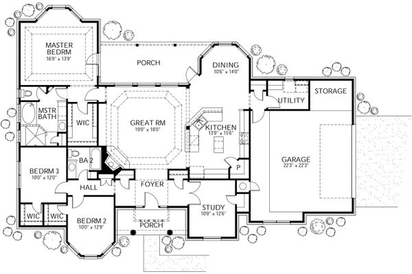 Mediterranean Floor Plan - Main Floor Plan Plan #80-142
