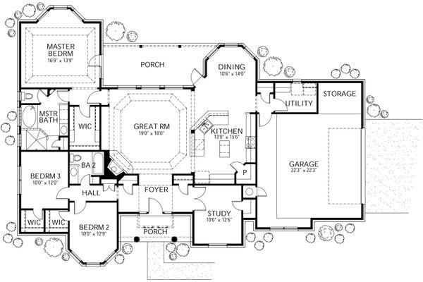 Dream House Plan - Mediterranean Floor Plan - Main Floor Plan #80-142