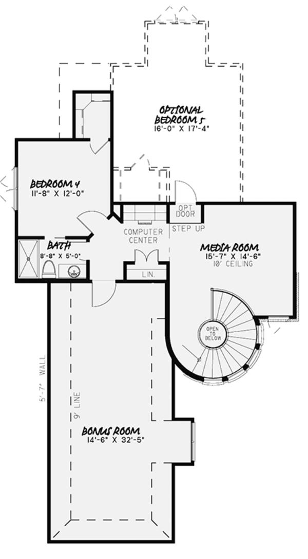 European Floor Plan - Upper Floor Plan Plan #17-3372