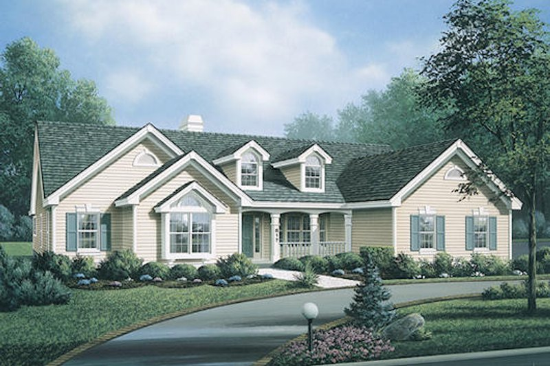 Traditional Exterior - Front Elevation Plan #57-318 - Houseplans.com