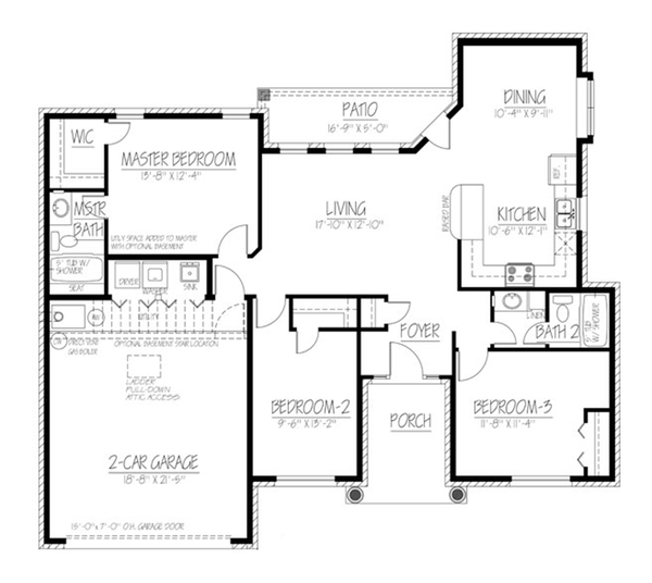 Ranch Floor Plan - Main Floor Plan Plan #1061-14