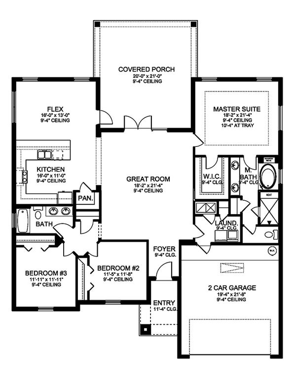 Traditional Floor Plan - Main Floor Plan Plan #1058-119