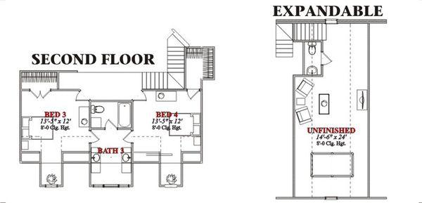 Country Floor Plan - Upper Floor Plan Plan #63-210