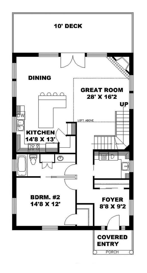 Contemporary Floor Plan - Main Floor Plan Plan #117-870