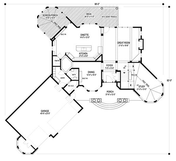 Traditional Floor Plan - Main Floor Plan Plan #56-600