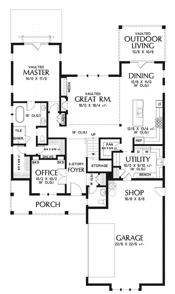 Farmhouse Floor Plan - Main Floor Plan Plan #48-940