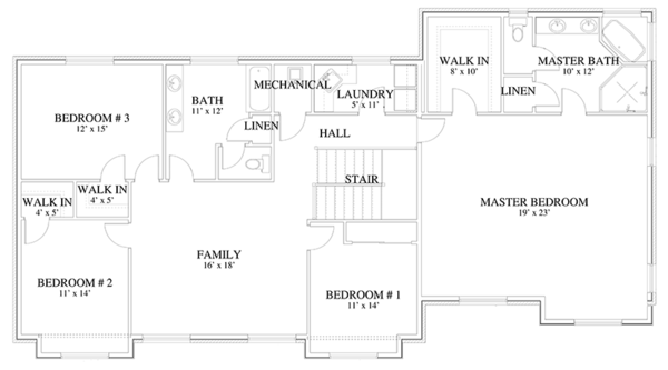 Traditional Floor Plan - Upper Floor Plan Plan #1060-18