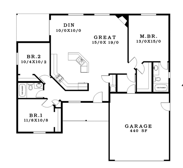 Craftsman Floor Plan - Main Floor Plan Plan #943-48