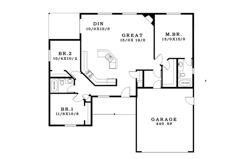 Craftsman Floor Plan - Main Floor Plan Plan #943-48