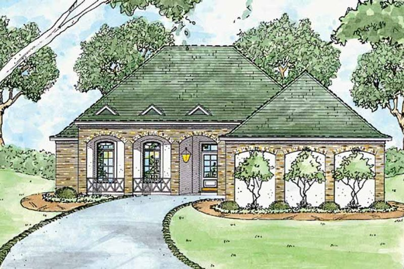 Home Plan - Country Exterior - Front Elevation Plan #36-573