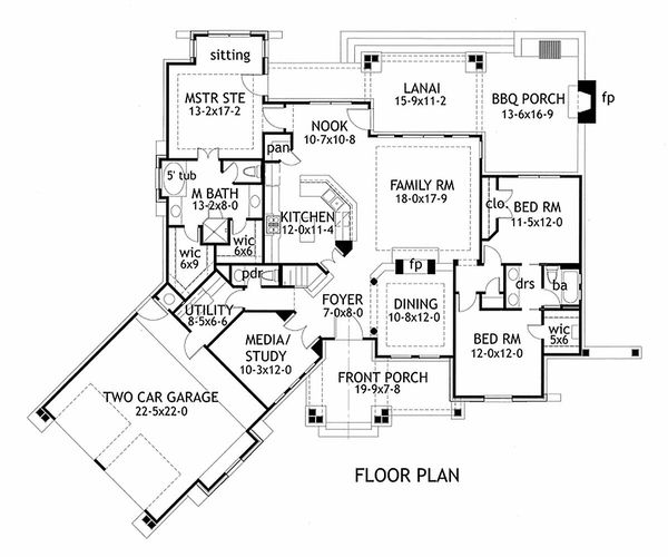 Mountain Lodge craftsman floor plan by David Wiggins 2000 sft