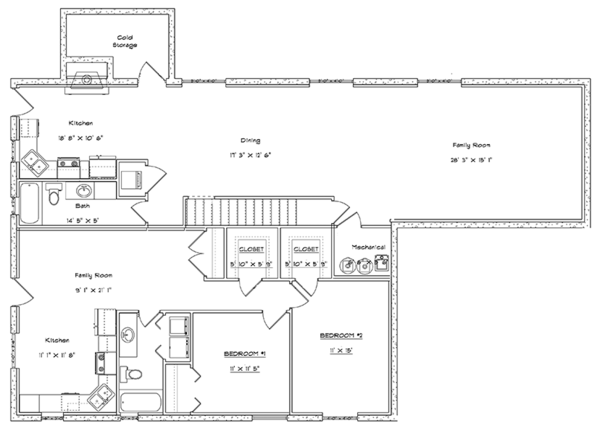 Traditional Floor Plan - Lower Floor Plan Plan #1060-20