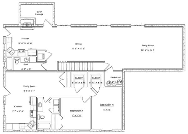 Traditional Floor Plan - Lower Floor Plan Plan #1060-20