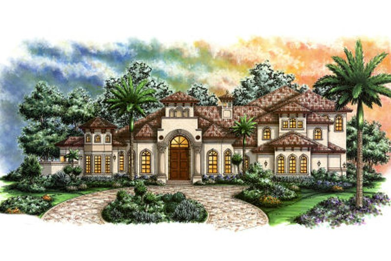 European Style House Plan - 4 Beds 5.5 Baths 5438 Sq/Ft Plan #27-415 Exterior - Front Elevation